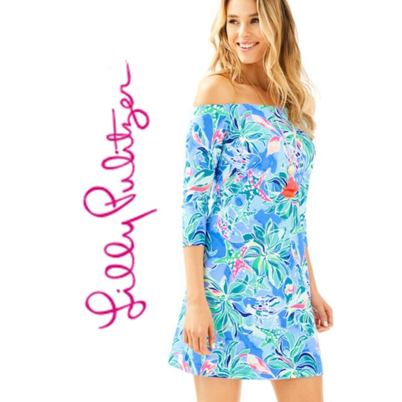 76a75fdf2895 Lilly Pulitzer Floral Laurana Off Shoulder Dress S